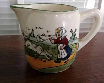 Antique Austrian Pitcher/Creamer-Dutch Girl and Dog