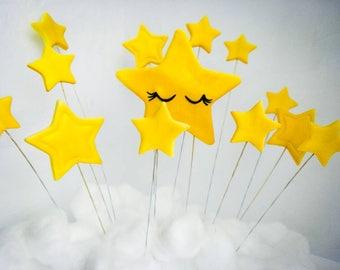 Twinkle twinkle little star cake topper edible fondant, first birthday cake, fondant stars, 1 main star and 12 other stars, golden stars