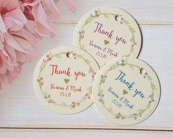 Personalised Wedding Favour Tags, Small 4.2cm Round / Circle Thank you Tags - Ivory Cream Card / Floral Wreath Purple / Blue / Red
