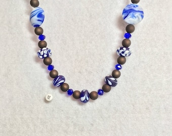 Cobalt Blue and Chocolate Brown Necklace