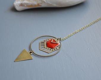Brass and dark red enamel and graphic hexagonal sequin necklace
