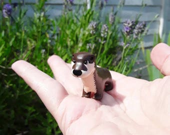 Otter miniature handmade hand painted polymer clay animal figurine totem sculpture ornament