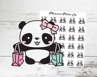 Panda Planner Stickers // Shopping // Girls Day