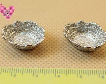 Dolls House Miniature Silver Bowl-2pcs