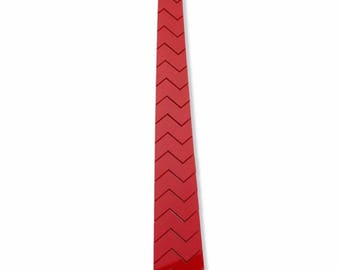 Dapper Hex Red Tie - zigzag Style ( Suit Accessories - NeckTie, Hex Neck tie Style Futuristic Modern Geometric Tie)