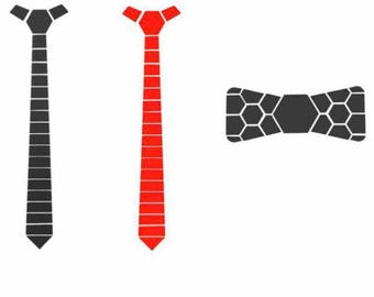 Combo Gift Red-Black dual side Hex Style Tie with black bow- Honeycomb  ( Suit Accessories - NeckTie, Hex Neck tie Style)