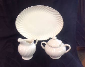 Vintage Platter with Sugar Bowl and Creamer pitcher