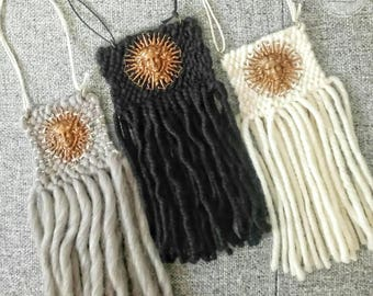 Wool woven wall hanging with copper engraving depicting a Sun / / contemporary weaving / / wall hanging / / Weaving //Wall weaving