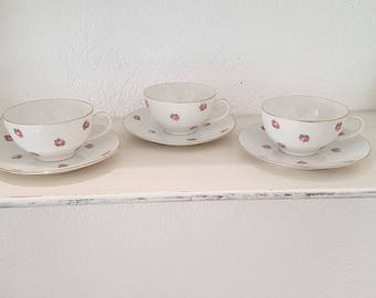 Set 3 vintage fine bone China cups
