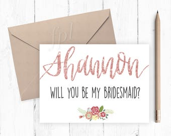 Custom Bridesmaid Proposal Cards - Digital Cards, Instant Download, Printable, Wedding Party, Be My Bridesmaid, Personalized Bridal Party