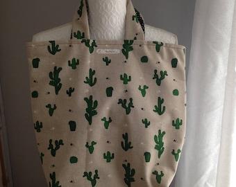 Tote Bag linen starry cotton double cactus