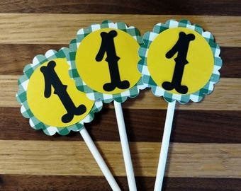 Gingham One Cupcake Toppers