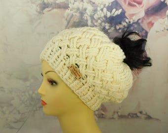 Messy bun basket weave hat