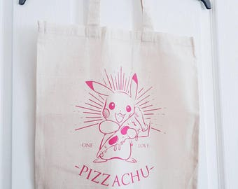 Pizzachu screen printed tote bag