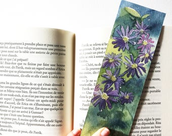 Bookmark flower, original watercolor drawing flowers anemone, purple flower card, unique Botanical drawing, drawing handmade reader