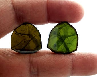 Bigger size Natural AAA +++ GREEN TOURMALINE Slices,triangle shaped gemstone,smooth slices,20x22 mm, 2 piece pair,33.2 ct.Approx[E1535]