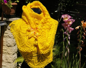 Hand knitted shawl.  Yellow shawl