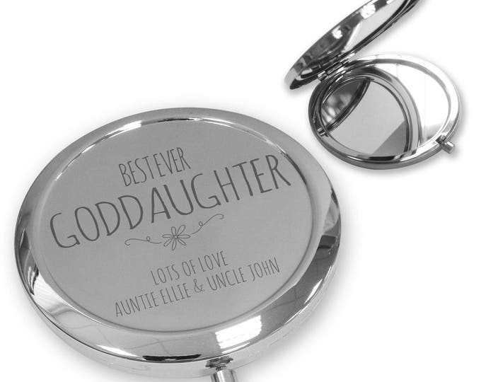 Personalised engraved GODDAUGHTER compact mirror gift, handbag mirror Push button, Best ever - PBWW9