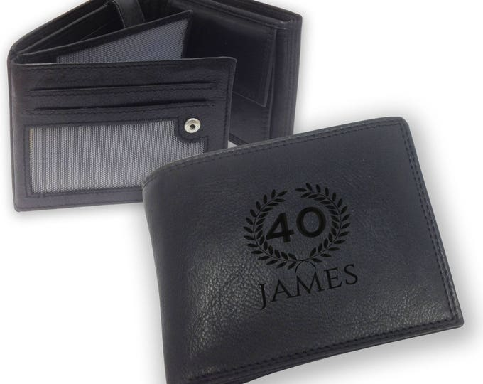 Personalised engraved 40th birthday LEATHER WALLET gift with coin purse - trifold personalized wallet, laurel - SAMBW40