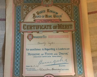 1924 Band of Hope Union Certificate of Merit Hygiene Food Drink Lecture