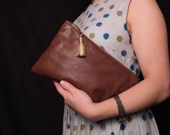 Classic Clutch Bag Purse - Mottled Brown Leather