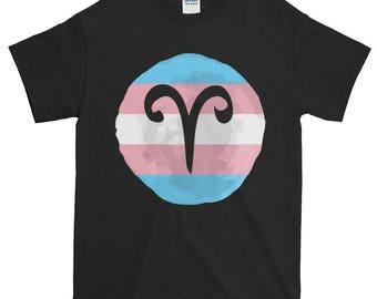 Trans Pride Aries Unisex Short-Sleeve T-Shirt, lgbt, lgbtq, queer pride, zodiac, lgbtqipa, queer, transgender