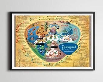 Vintage DISNEYLAND Park Map Poster X - Disneyland brazil map