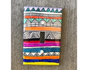 Light Switch Plate Cover Tribal Doodle, Tribal Decor, Dorm Decor, Tribal Print