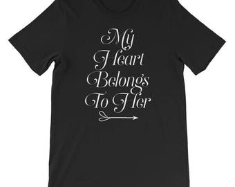 My heart belongs to her valentines day t shirt couple matching v-day day gift birthday gift happy valentines day top trendy valentines