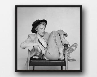 David Bowie Print - Black and White Photograph - Home Decor - Monochrome Art