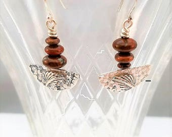 Handcrafted sterling silver demi-lune dangle earrings with stacked jasper rondelle beads and leaf applique
