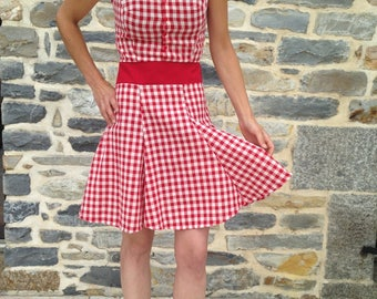 """Vintage pin up, strapless top and skirt """"swing"""" style dress"""