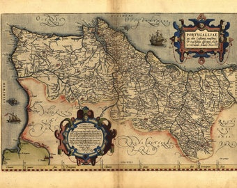 Antique Map of Portugal, by Abraham Ortelius, circa 1570 - unique gift or home decor- A vintage printable digital image no 101