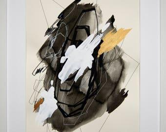 Original abstract illustration, no. 0623, mixed media on paper, 35x50cm. 2017
