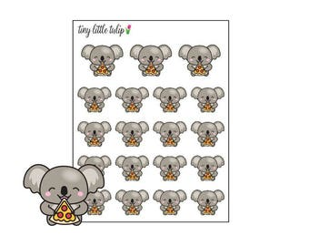 Planner Stickers Koala Eating Pizza