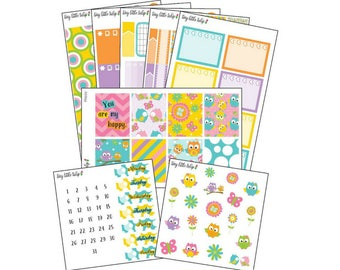Planner Stickers Happy Owls Weekly Kit