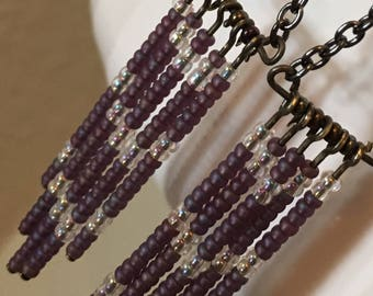 Purple bead chandelier earrings