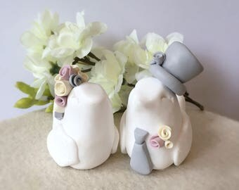Love Birds Clay Bride and Groom Wedding Cake Topper