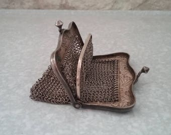 Old wallet in stitches - art deco style - old stock - pouch - door Louis - 1920s - France