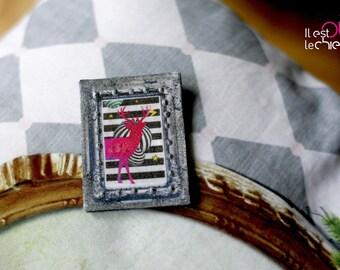 Silver brooch, pop pink deer on stripe background