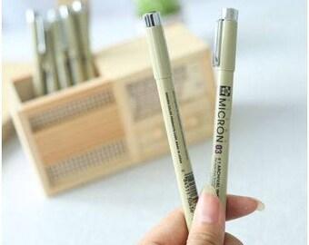 7 Pcs Sakura Pigma Black Micron Needle Point Pens