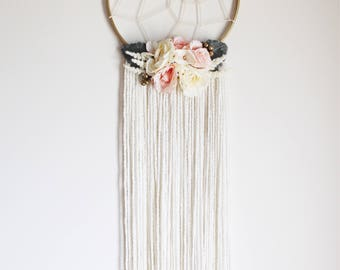 BLOOM - Floral hoop wall hanging/wall art/floral dreamcatcher/hair bow holder
