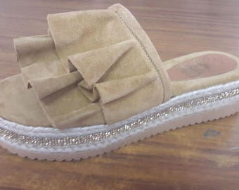 Suede leather flatforms code 1049