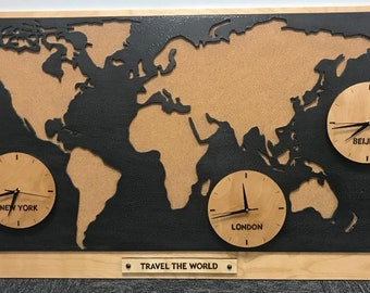 Handmade Travel The World Clock Wall Decor