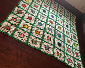 Extremely large vintage granny squares Afghan