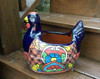 Chicken Pot / Chicken Planter / Talavera Style Pot / Hen Pot / Pottery Planter / Talavera Planter / Garden Planter