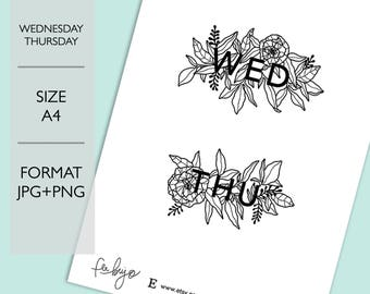 Wednesday and Thursday Printable - Printable Planner Stickers, Printable stickers, Daily Scrapbooking