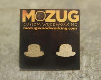 Wooden top hat earrings  - lasercut - maple