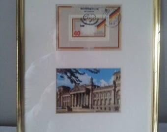25 years Federal Republic of Germany_Bundesrepublik Deutschland_Stamp & Picture. Gold frame.