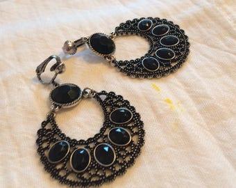 Large Pewtertone/Gunmetal and Black Rhinestone Clip on Earrings